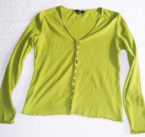 Green Top Chartreuse Vgc a V Cardigan Size raso Hobbs scollo 100 in finiture M con cotone con YwwxqCOUS