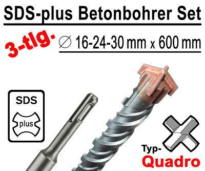 SDS-plus Betonbohrer Set 3-tlg Quadro Bohrer Hammerbohrer 16mm 24mm 30mm x 600mm