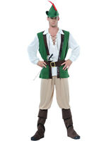 Adult Mens Robin Hood Medieval Peter Pan Fancy Dress Costume Outfit & Hat New