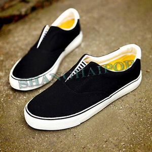 Unisex-Canvas-Shoes-Slip-on-Flat-Plimsoles-Girls-Flat-Women-Casual-Black-White