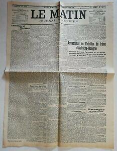 N939-La-Une-Du-Journal-Le-Matin-29-juin-1914-assassinat-heritier-Autriche
