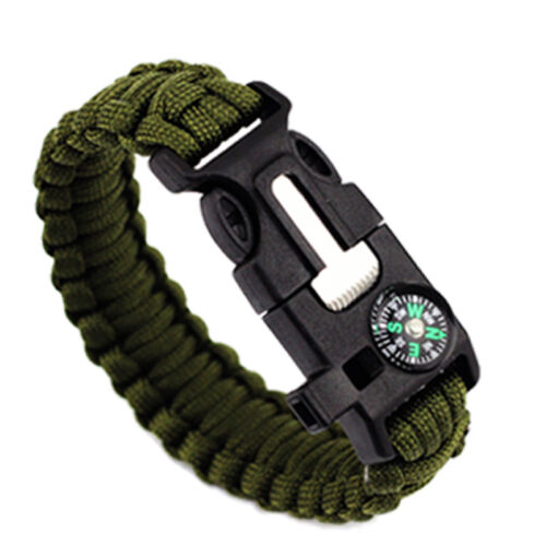 Fashion Men Outdoor Multi Tool Survival Buckle Rope Paracord Hiking Bracelets