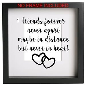 Friends Forever Never Apart Box Frame Sticker Ribba Quote Best