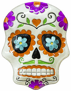 Halloween Decor - 10 Inch Day Of The Dead Sugar Skull Ceramic Serving Plate