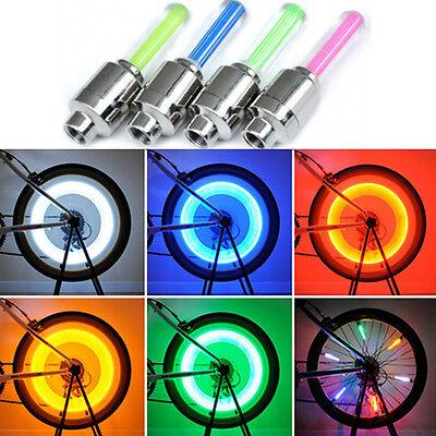 4 LED NEON VALVE DUST CAP LIGHT CAR VAN BIKE BMX WHEEL TYRE SPOKE SAFETY LAMP