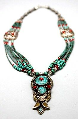 """16"""" Nepal Silver Tibet Necklace Turquoise & Coral Beads & Pendant USA SELLER"""