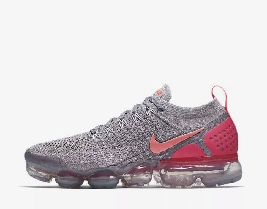 NIKE WOMENS AIR VAPORMAX FLYKNIT 2 2 2 SZ 9.5 ATMOSPHERE GREY CRIMSON 942843 005 be9e78