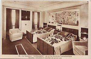 B3666+ CPA PAQUEBOT LE NORMANDIE PAQUEBOT CHAMBRE A COUCHER DE GRAND ...