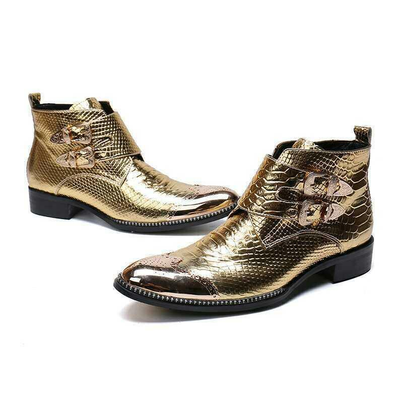 Uomo Gold Snakeskin Pelle Oxford Ankle Shoes Casual Party Bar Ankle Oxford Stivali Buckles 8dd14f