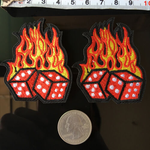 1Pc FIRE FLAMING Twin DICE Patch EMBROIDERED iron on Sew Bikers JACKET