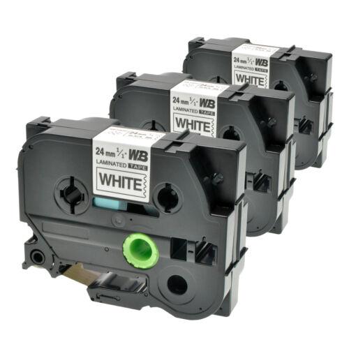 3 Schriftbänder kompatibel zu Brother P-Touch TZE-251 8m//24mm Schwarz auf Weiß