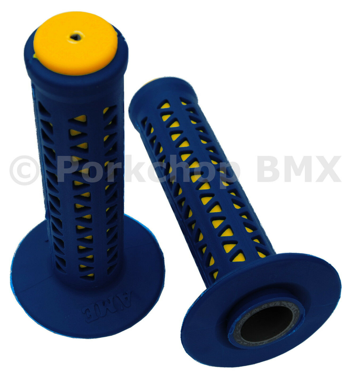 AME old school BMX Unitron bicycle grips - blueeE over YELLOW MADE IN USA NEW