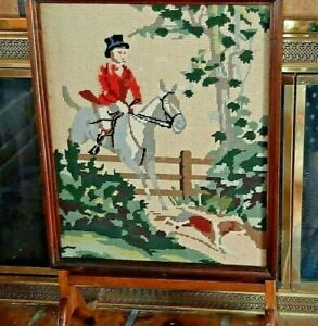Antique-Fireplace-Screen-Table-Needlepoint-Fox-Hunt-Horse-Hound-Equestrian