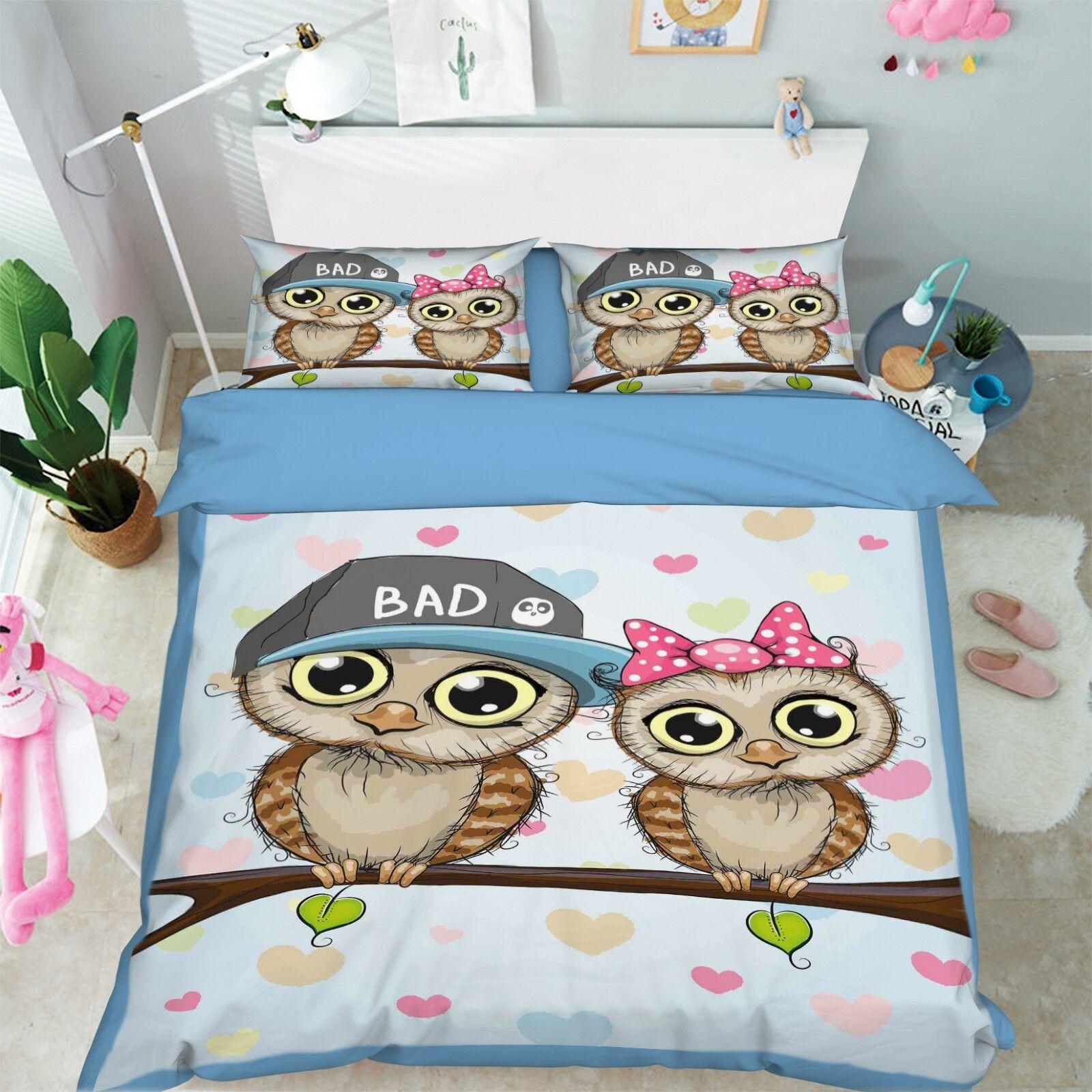 3D Cartoon Owl Kid 5 Bed Pillowcases Quilt Duvet Cover Set Single King UK Summer