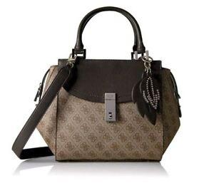 GUESS-Nissana-G-Print-Satchel-Handbag-Tote-Bag-Brown