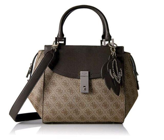 Guess Nissana G Print Satchel Handbag Tote Bag Brown
