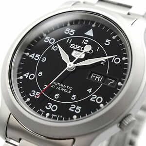 SEIKO-5-SNK809-SNK809K1-Automatic-21-Jewels-Black-Dial-Stainless-Steel-Men-Watch