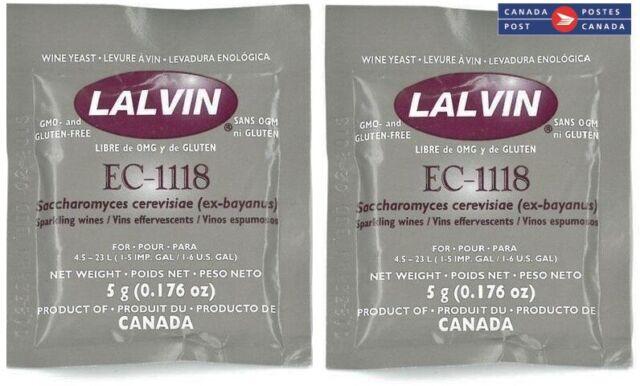 Lalvin EC-1118 Wine Yeast (set of 2 sachets), wine making supplies