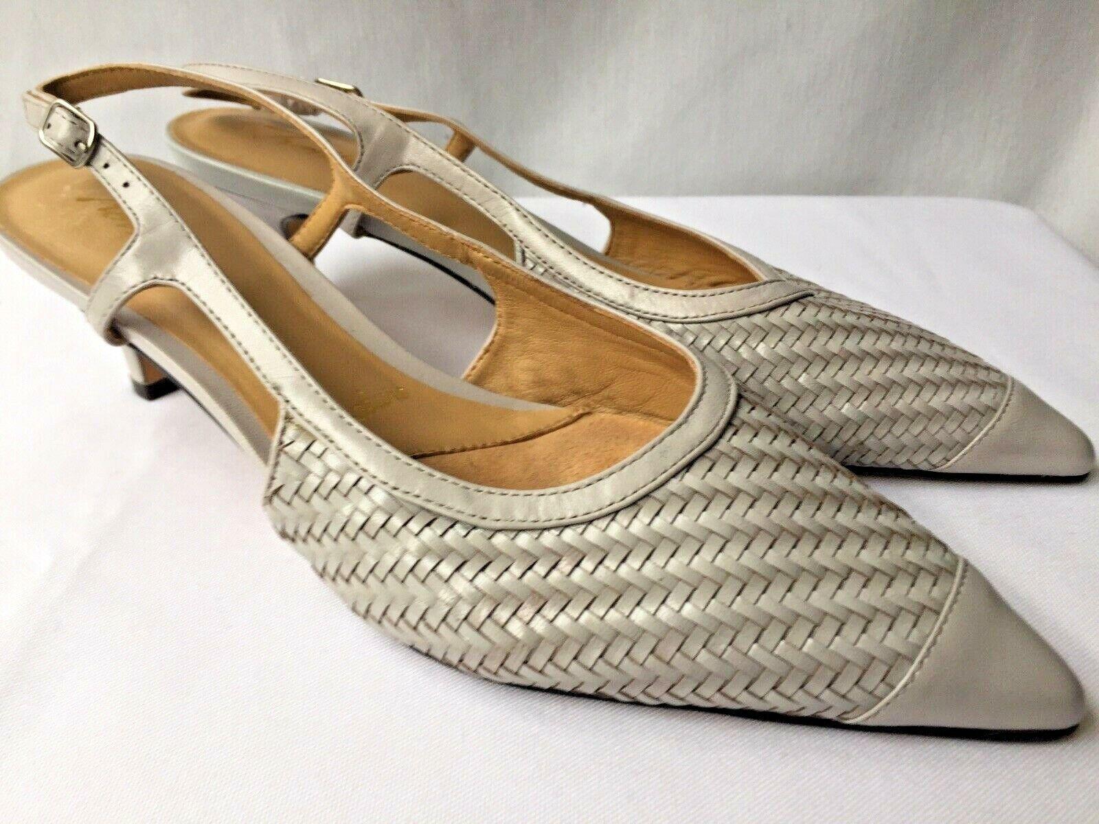 139 TredTERS Kimberly Silver Grey Sling back Kitten Heels shoes Spring Summer 7