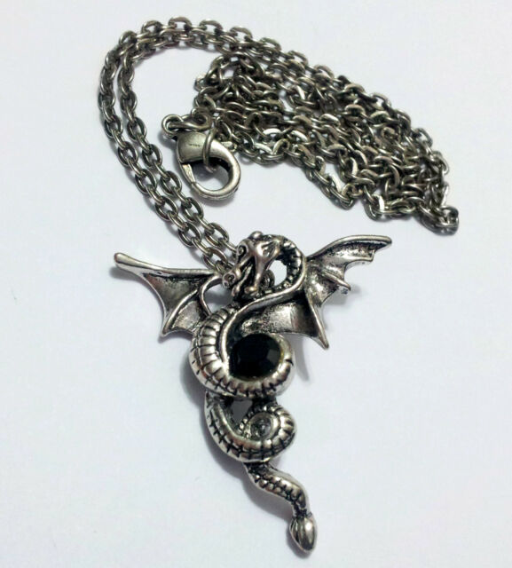 Men's Stainless Steel Vintage Silver Dragon Pendant Necklace Chain Rock Bands