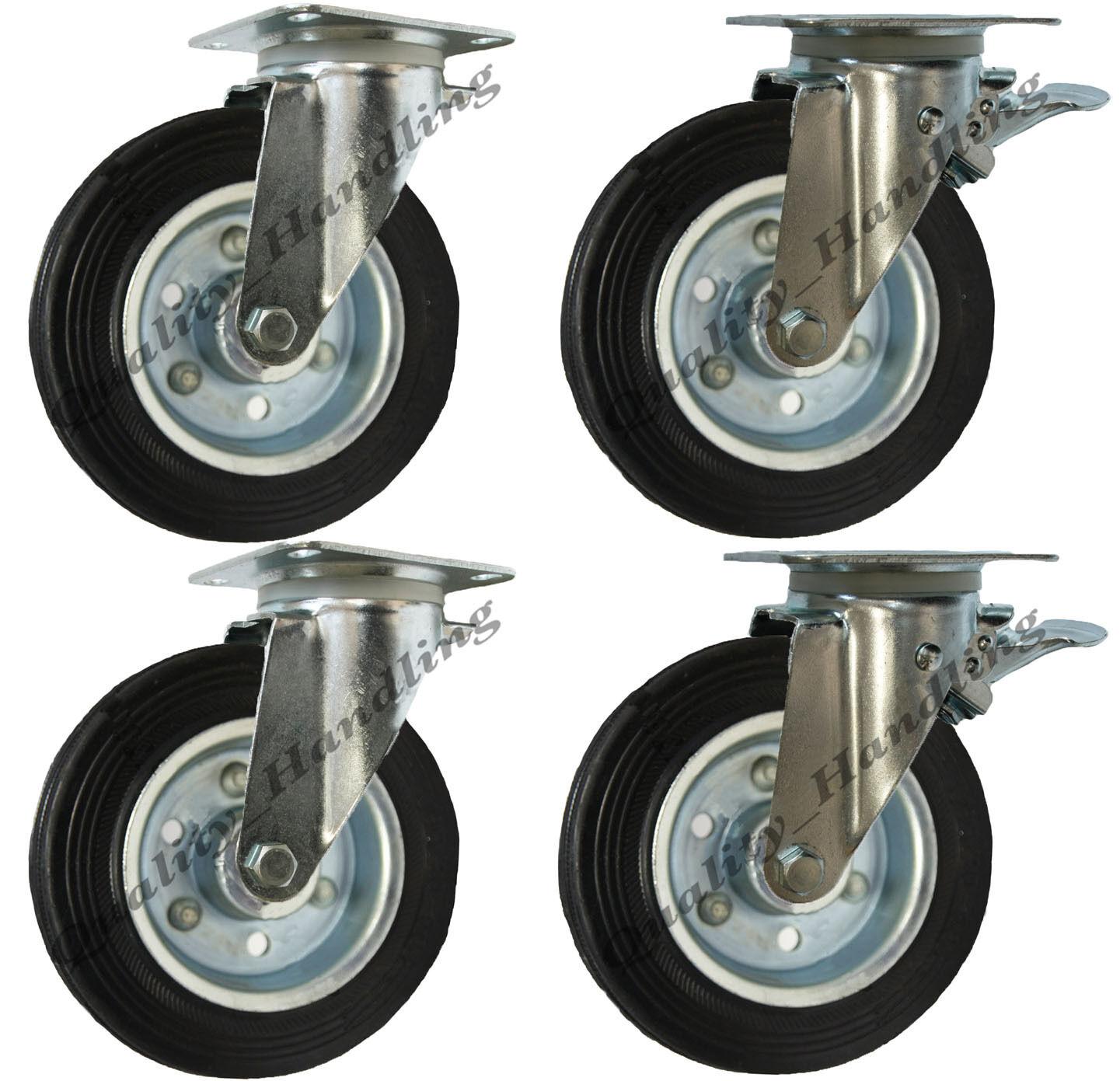 4 - 200mm Gummi Räder Abfallbehälter Abfallbehälter Abfallbehälter Rollen - Dreh & Dreh Gebremste 1100 Liter 6544e7