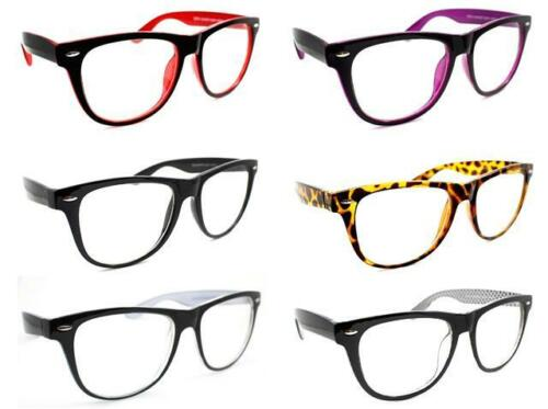 Due Tonalità Moda Retrò Unisex Uomo Donna Lente Trasparente Occhiali Nerd Geek Eyewear