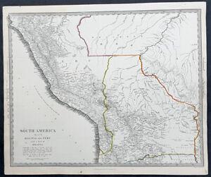 Map Of America Ebay.Details About 1837 Sduk Antique Map South America Bolivia Peru Western Brazil