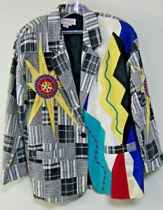 Adam-Douglass-Adrianna-Papell-Jacket-Sz-L-Blazer-Jacket-Vtg-Beaded-Embroidered