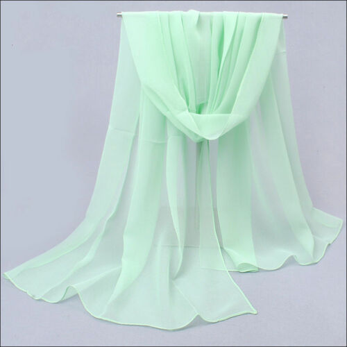 New Light Green Girl Fashion Stylish Long Soft Silk Chiffon Scarf Wrap Shawl