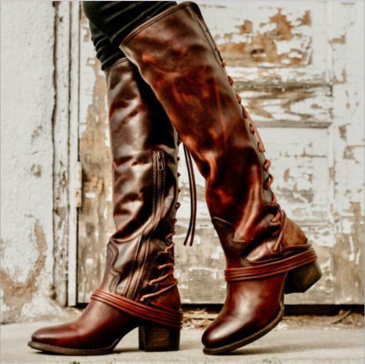 Womens Fringe Chunky Heels Side Zip Knee High Boots Lace Up Warm Knight shoes Sz