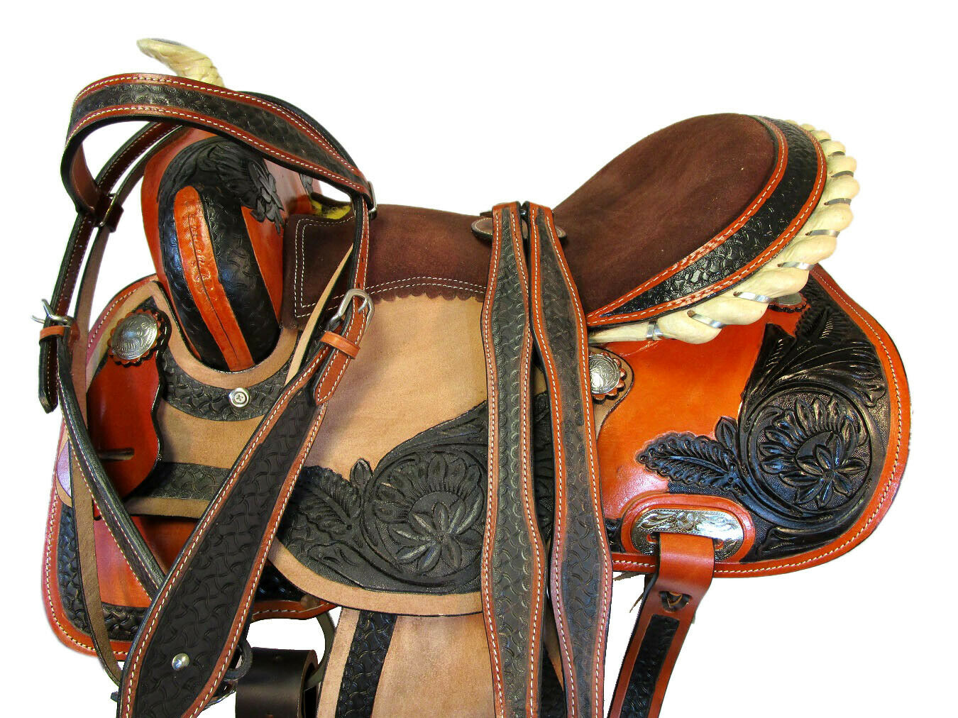 RODEO WESTERN RACING BARREL 15 16 PLEASURE TRAIL TOOLED LEATHER HORSE SADDLE SET