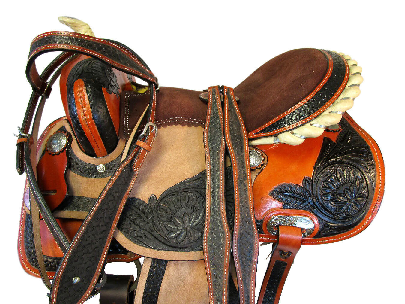 TOOLED LEATHER SHOW HORSE TRAIL PLEASURE PRO  WESTERN BARREL RACING SADDLE 15 16  fast delivery and free shipping on all orders