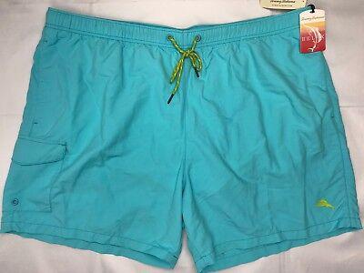 NWT Big Mens Tommy Bahama Swim Suit Trunks Naples Happy Go Cargo $75 Turq 3XB