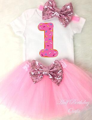 3a032e838 Donut Cupcake Pink Sprinkle Doughnut 1st First Birthday Tutu Outfit Shirt  Set s2