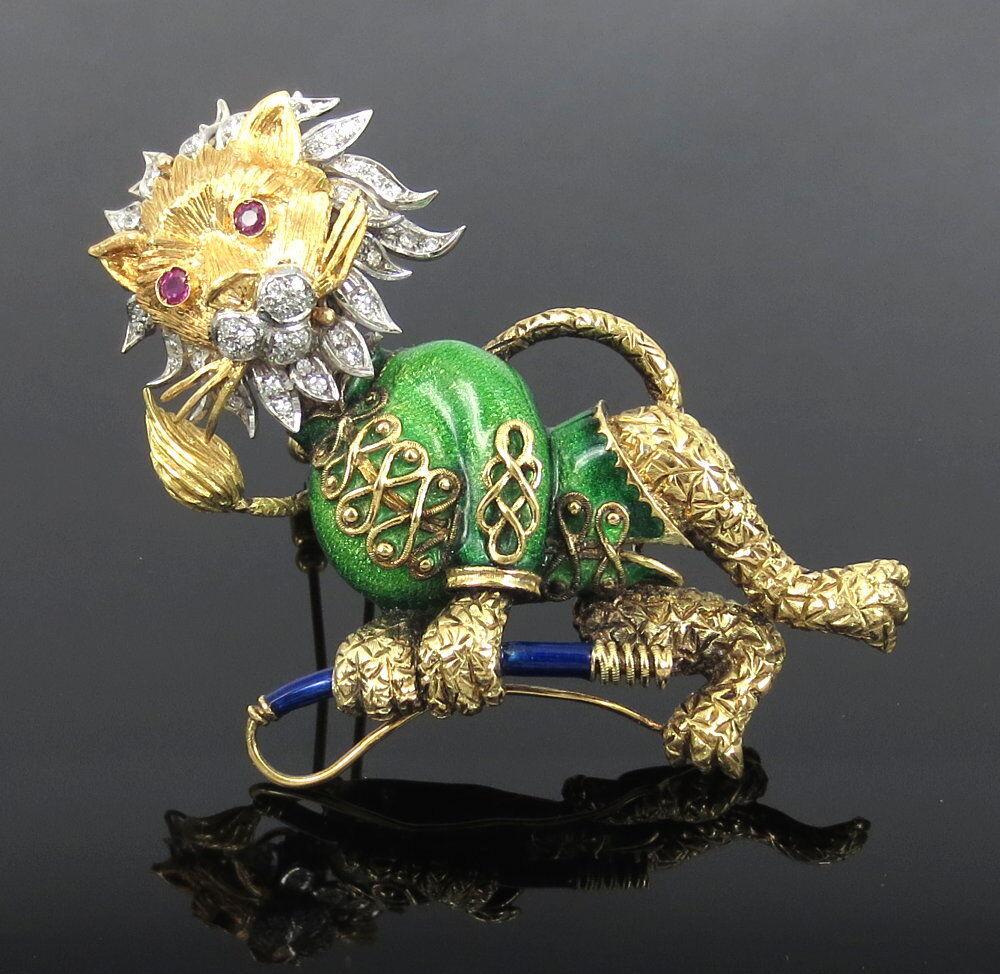 Vintage Diamond Ruby & Enamel Platinum & 18K gold Hand Carved Circus Lion Brooch