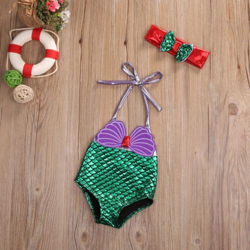 1 Piece S Baby Girl/'s Little Mermaid Full Purple /& Green Swimsuit Bathing Suit