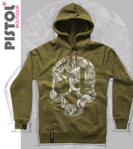 Pistol Boutique Khaki Pullover ROSES SKULL CROSS Fashion Raglan hoodie