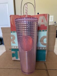 *Starbucks 2020 Holiday  Studded Grid Cold Cup Tumbler Venti Hot Pink new