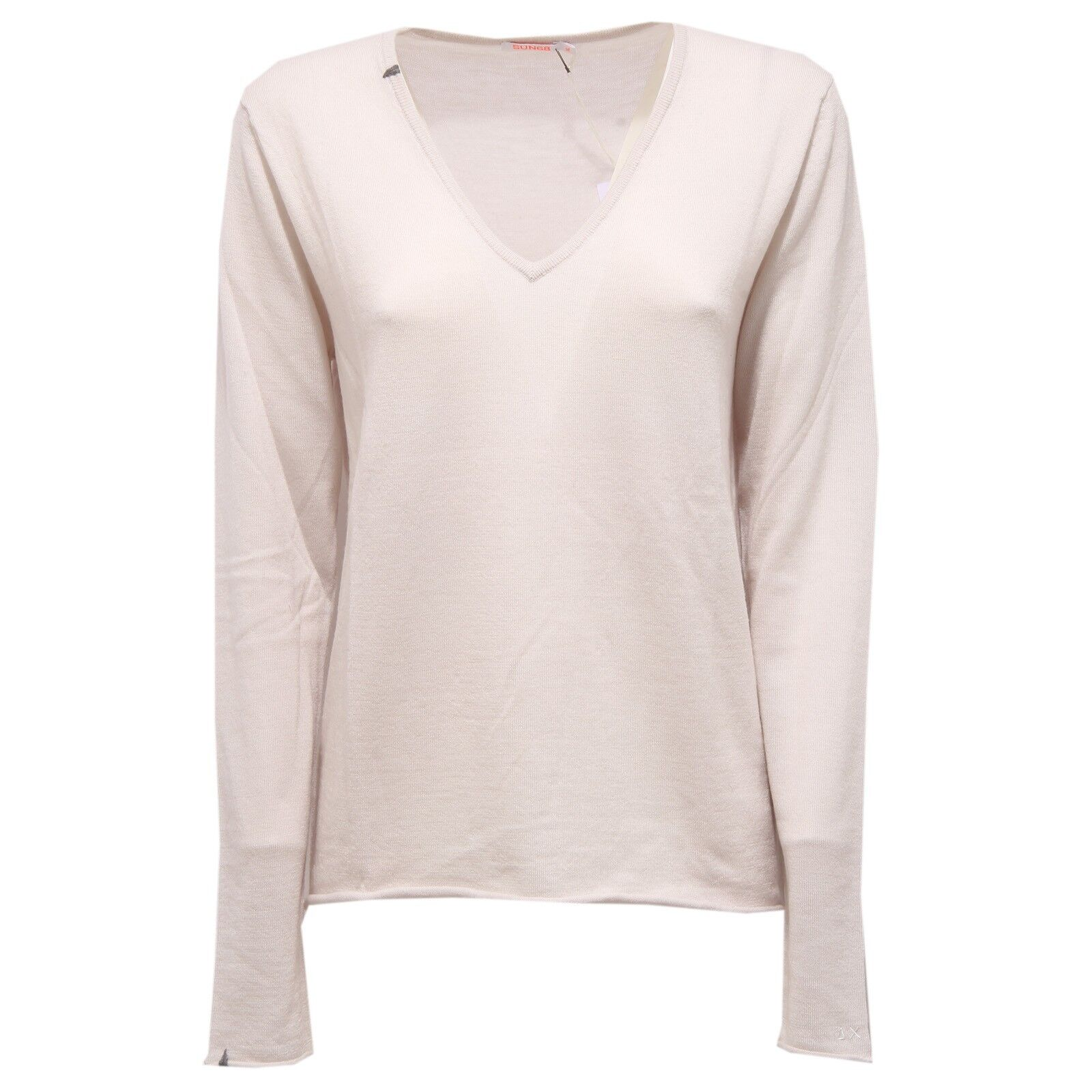 7341V maglione donna SUN 68 extrafine wool ivory sweater Donna