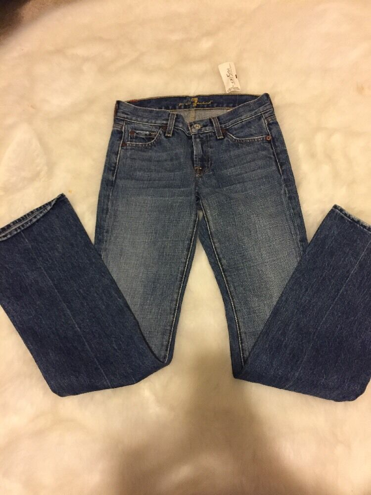 7 For All Mankind Womens Boot Cut bluee Denim Jeans Size 24 Inseam 33' NWT