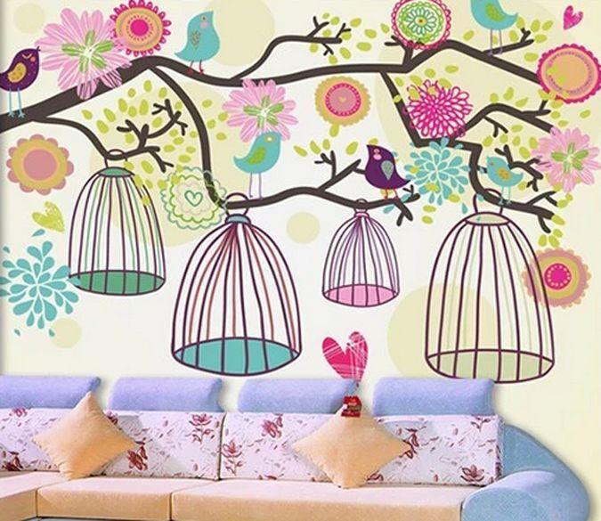3D vögel in käfigen, Baum Fototapeten Wandbild Fototapete BildTapete Familie DE