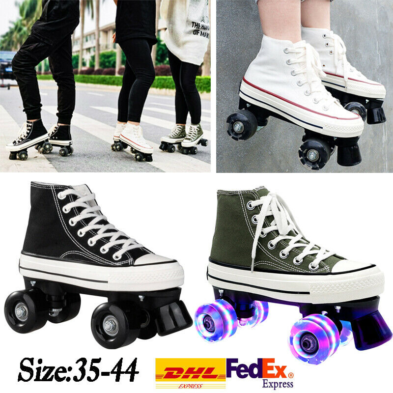 La Kidz Double Retractable Lined 4 Wheels Roller Skates Sneakers Shoes For For Sale Online Ebay