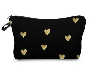 Cosmetic-Make-up-Bag-Black-amp-Gold-Hearts-034-Aussie-Seller-034-Pencil-Case-Travel-Pack
