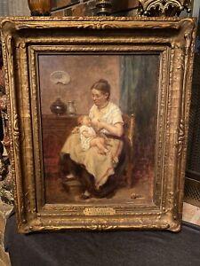 antique original oil painting framed signed