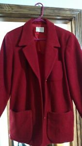 Usa Lommer Med Uld Jacket Kvinder Red Pendleton Button 100 Coat Medium Warm wAzcdBTq