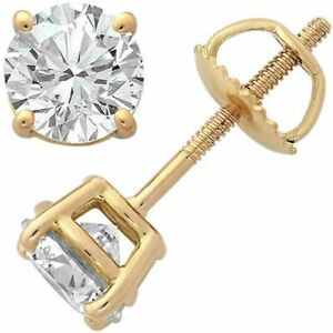 1-25-ct-White-Sapphire-Screw-Back-Stud-Earrings-14k-Yellow-Gold-St-Silver
