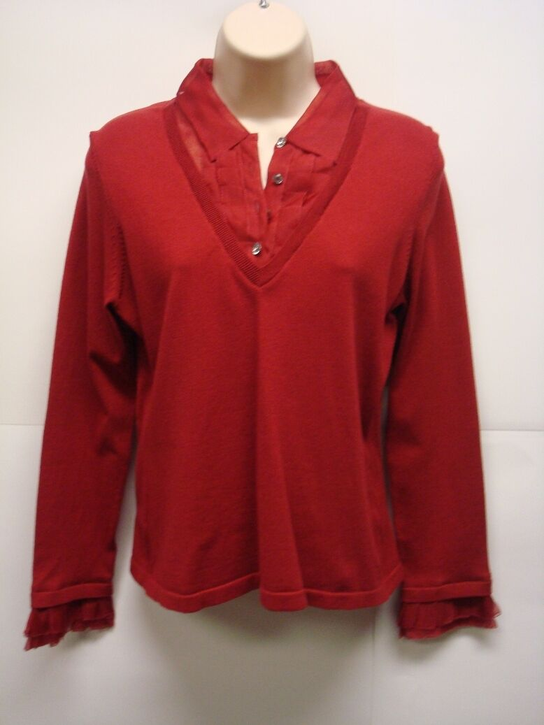 NWT Charter Club Red Sweater with attached Ruffled faux shirt PetiteSmall Nice