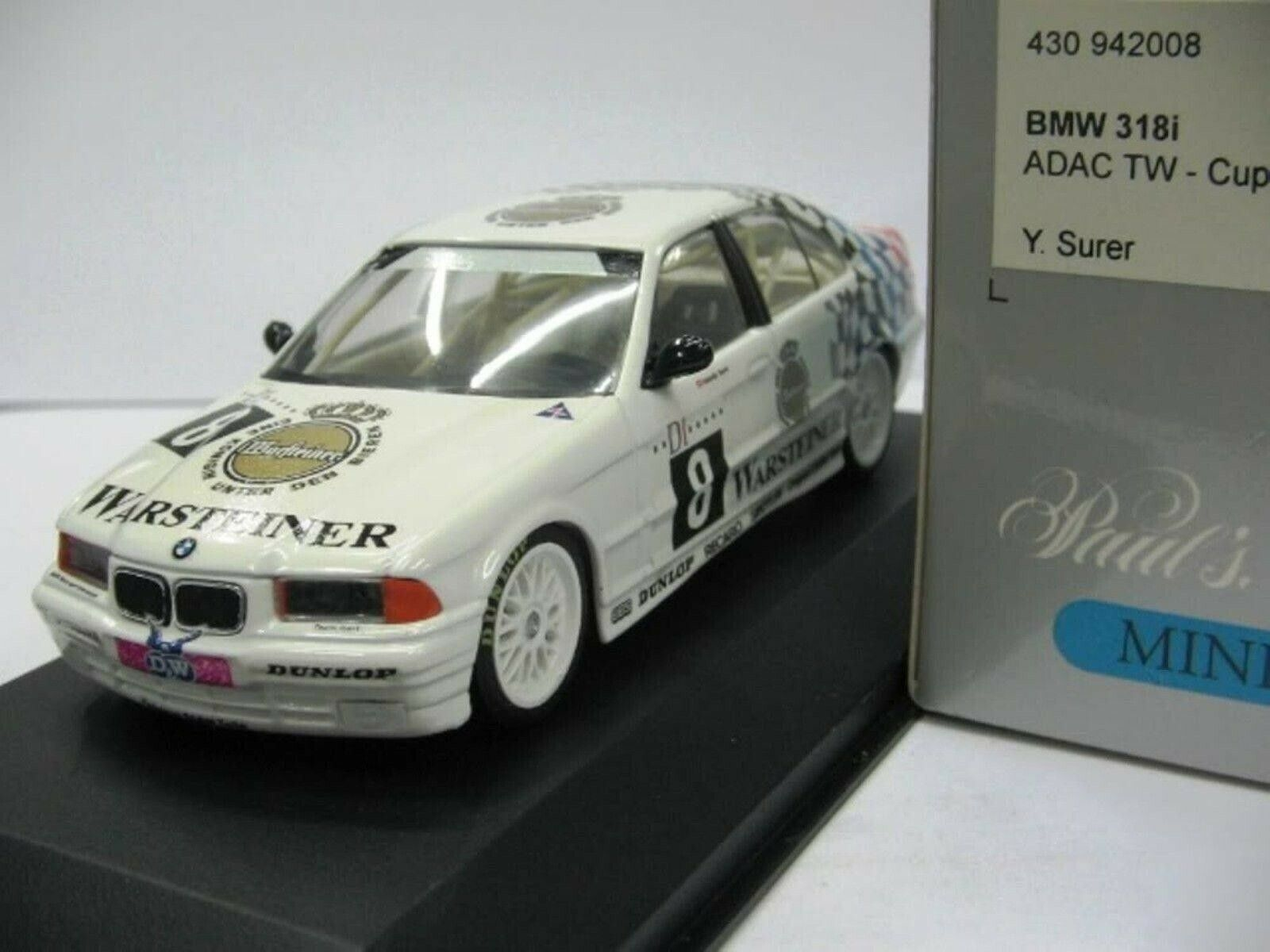 WOW EXTREMELY RARE BMW E36 1994 318iS Surer 1st pnt Avus STW 1 43 Minichamps