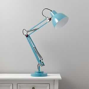 Image Is Loading Isaac Blue Desk Lamp Retro Table Reading Flexible