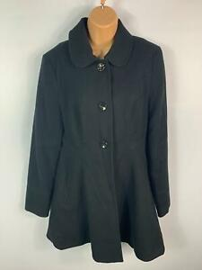 WOMENS-TOPSHOP-BLACK-FITTED-FLARE-CASUAL-WINTER-BUTTON-JACKET-OVERCOAT-SIZE-12